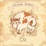 Vintage card with Chinese Zodiac - Ox Stock Image