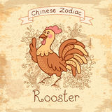 Vintage card with Chinese zodiac - Rooster Stock Photos