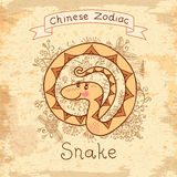Vintage card with Chinese zodiac - Snake Stock Photos