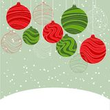 Vintage card with Christmas balls. Vector Stock Photography