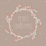 Vintage card with Christmas wreath vector illustration Stock Photography