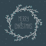 Vintage card with Christmas wreath Royalty Free Stock Images