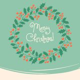 Vintage card with Christmas wreath. royalty free illustration