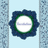 Vintage card with circle spring blue flowers Royalty Free Stock Photo