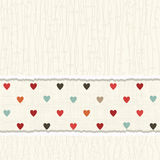 Vintage card with colorful hearts Royalty Free Stock Images