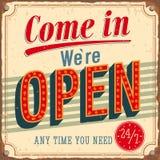 Vintage card - Come in were Open. Vector illustration stock illustration