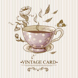 Vintage Card with Cup, Flowers and Butterfly Royalty Free Stock Photos