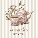 Vintage Card with Cup, Pot, Flowers and Butterfly Stock Images