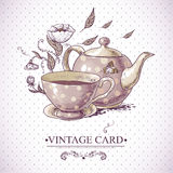 Vintage Card with Cup, Pot, Flowers and Butterfly Royalty Free Stock Image