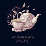 Vintage Card with Cup of Tea or Coffee and Pot Stock Photography