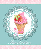 Vintage card with cupcake Royalty Free Stock Photos