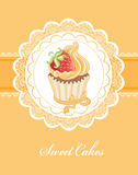 Vintage card with cupcake Royalty Free Stock Photo