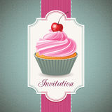 Vintage card with cupcake royalty free illustration