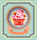 Vintage card with cupcake with red cherries, bow Stock Photography