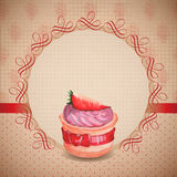 Vintage card with cupcake Royalty Free Stock Image