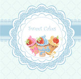 Vintage card with cupcakes Royalty Free Stock Photos