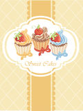 Vintage card with cupcakes Royalty Free Stock Photography