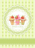 Vintage card with cupcakes Royalty Free Stock Images