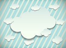 Vintage card with cut out clouds Royalty Free Stock Images