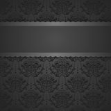 Vintage card with damask background, luxury black design Royalty Free Stock Photography