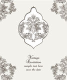 Vintage Card Damask Baroque pattern. Vintage Card Cover with Baroque ornament engraving floral pattern. Vector Retro Antique style Acanthus foliage. Decorative Royalty Free Stock Photos