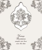 Vintage Card Damask Baroque pattern. Vintage Card Cover with Baroque ornament engraving floral pattern. Vector Retro Antique style Acanthus foliage. Decorative Royalty Free Stock Photo