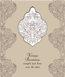 Vintage Card Damask Baroque pattern. Vintage Card Damask Baroque ornament engraving floral pattern. Vector Retro Antique style Acanthus foliage. Decorative Stock Photo