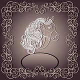Vintage Card with Decorative Horse with Patterned  Royalty Free Stock Image
