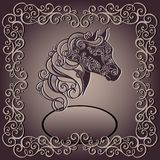 Vintage Card with Decorative Horse with Patterned  Royalty Free Stock Photo