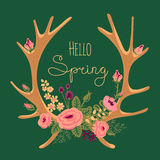 Vintage card with deer antlers and flowers Royalty Free Stock Photo