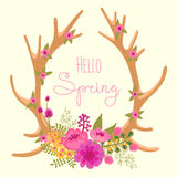 Vintage card with deer antlers and flowers Stock Photo