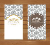 Vintage card design for greeting card, invitation,banner. Set of Retro eastern background. Royalty Free Stock Images