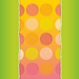 Vintage card design Polka dot background, scribble dot on green and orange background, template for your design. Vector Stock Image