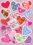 Vintage card with  different colors and ornaments paper hearts - Royalty Free Stock Images