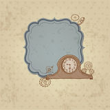Vintage Card with Doodle Clock Royalty Free Stock Photo