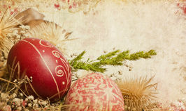 Vintage card with easter ornaments royalty free stock image