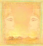 Vintage card with Egyptian queen Royalty Free Stock Photos