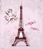 Vintage card with Eiffel Tower and cupid Royalty Free Stock Photo