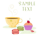Vintage card featuring cup of tea, cherry cupcake. Vector card template of cup with hot beverage, cherry cupcake, macaroons and candy with space for text Stock Image