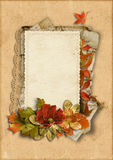 Vintage card with fine autumn decorations with place for photos Stock Images