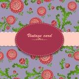 Vintage card on floral blue background Stock Image
