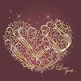 Vintage Card with floral heart I love you Stock Images