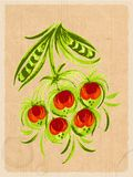 Vintage card. Vintage floral card in Ukrainian folk style Stock Photography