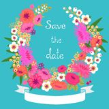 Vintage card with floral wreath. Save the date. stock illustration