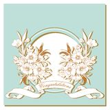 Vintage card with flowers around the frame. Royalty Free Stock Image