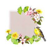 Vintage card - flowers and bird for fashion design. Watercolor background vector illustration