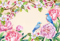 Vintage card with flowers and birds. Spring background Stock Image