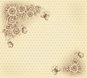 Vintage card with flowers and butterfly, vector Royalty Free Stock Photos