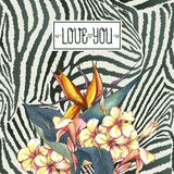 Vintage Card with Flowers on Zebra Background Royalty Free Stock Photo