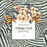 Vintage Card with Flowers on Zebra Background Stock Photography